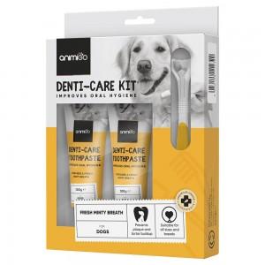 Denti-Care Set - Täglich essbare Zahnpasta für Katzen & Hunde mit Zubehör - Animigo - 2 x 100g Tuben